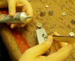 Glue on the steampunk ring crystals