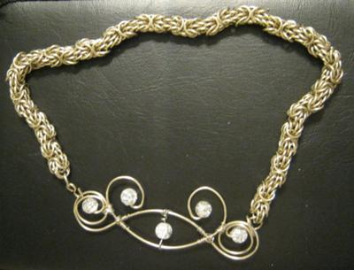 Chain Maille and Wire Necklace