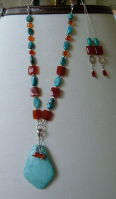 Turquoise & Carnelian necklace and earrings~